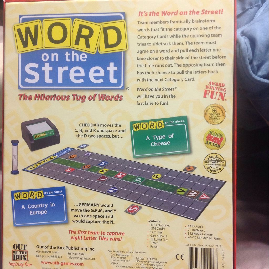 Word On The Street Board Game - Out Of The Box (Word Game) back image (back cover, second image)