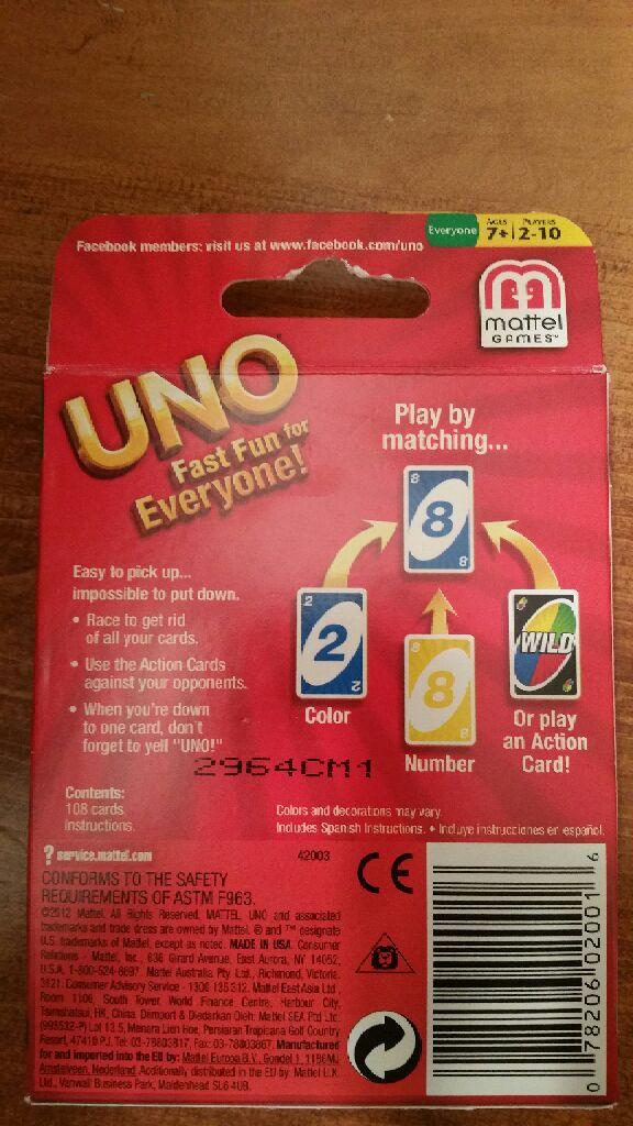 Uno Board Game - Mattel (Card Game) back image (back cover, second image)