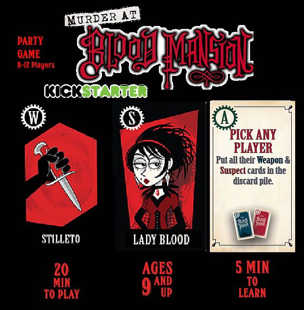 Murder At Blood Mansion Board Game - BBM Games (Bluffing*Card Game*Murder/Mystery) front image (front cover)