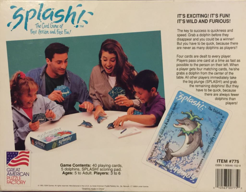 Splash! Board Game - Great American Puzzle Factory (Children's Game*Card Game*Animals) back image (back cover, second image)