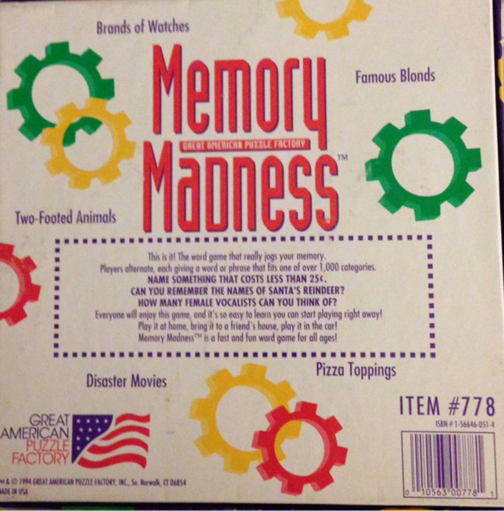 Memory Madness Board Game - Great American Puzzle Factory (Memory) back image (back cover, second image)