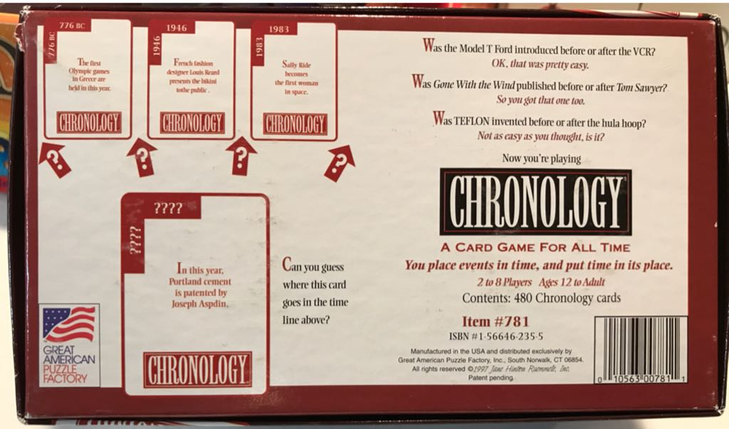 CHRONOLOGY Board Game - Great American Puzzle Factory (Trivia*Educational) back image (back cover, second image)