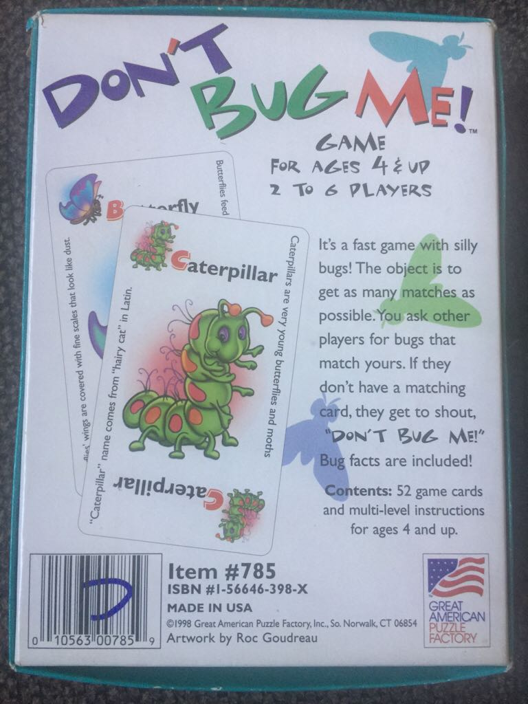Don't Bug Me Board Game - Great American Puzzle Factory (Card Game) back image (back cover, second image)