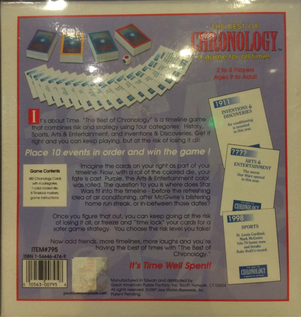 The Best Of Chronology Board Game - Great American Puzzle Factory back image (back cover, second image)