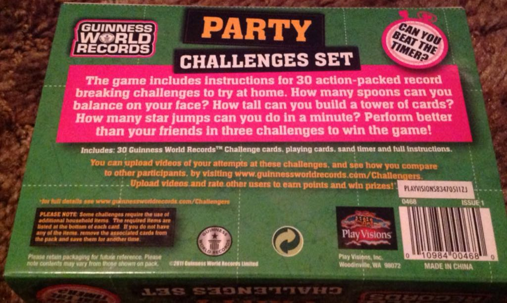 Guinness Worlds Record Party Challenge Board Game - Play Visions back image (back cover, second image)