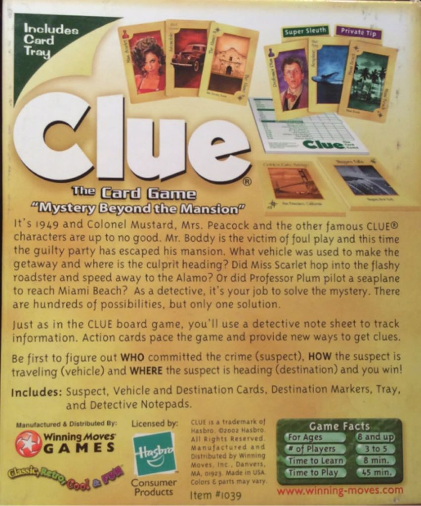 Clue The Card Game Board Game - Hasbro (Card Game) back image (back cover, second image)