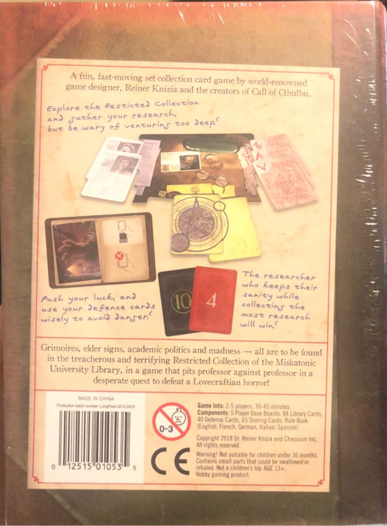 Miskatonic University Board Game - Chaosium Inc (Card Game*Strategy) back image (back cover, second image)