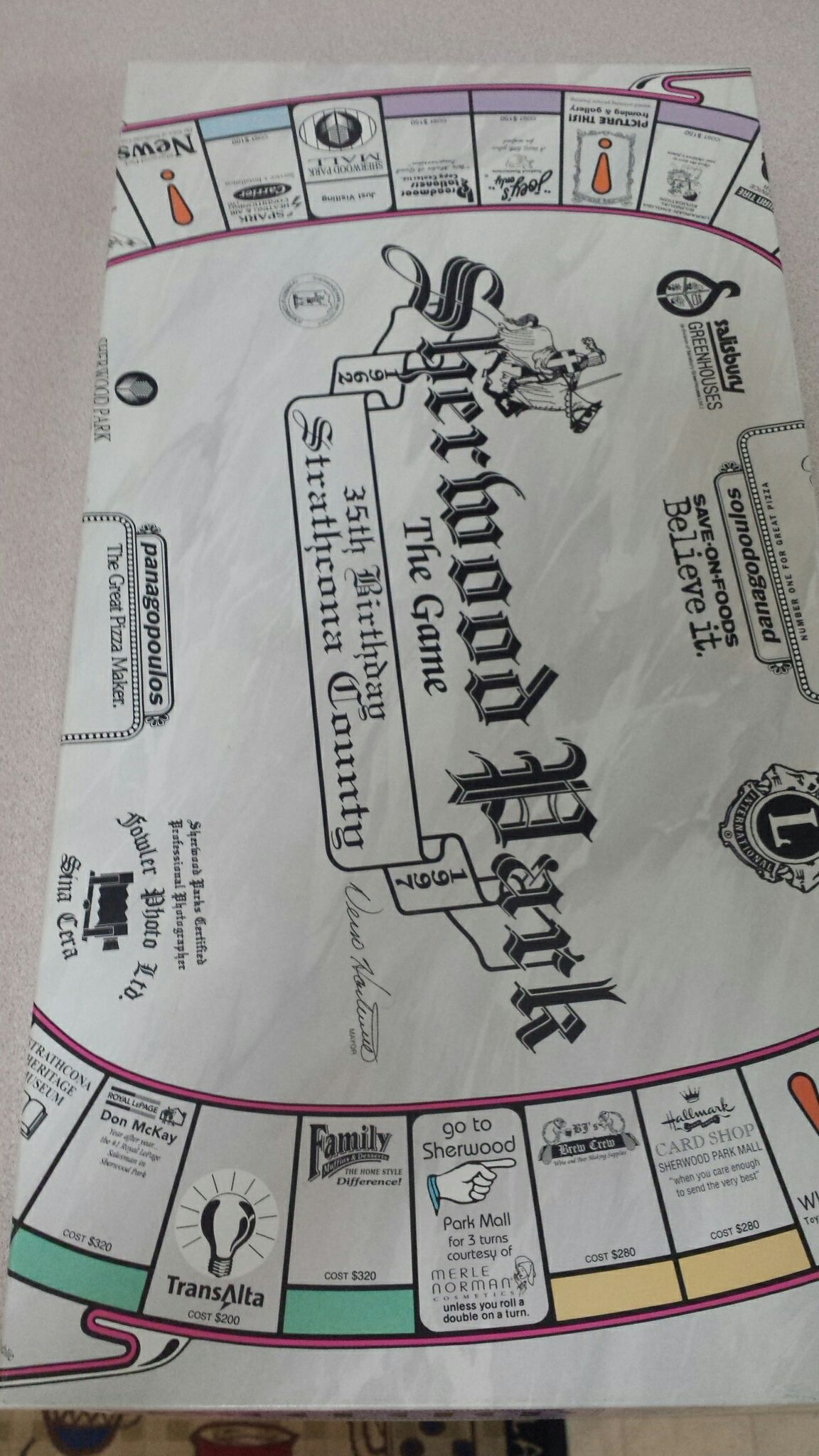 Monopoly Sherwood Park Board Game front image (front cover)