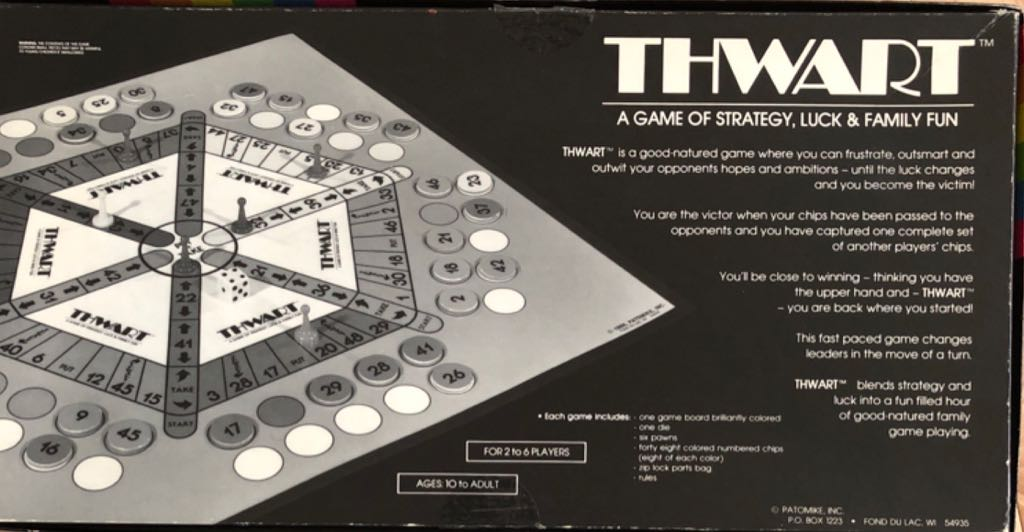 Thwart Board Game - Patomike, Inc back image (back cover, second image)