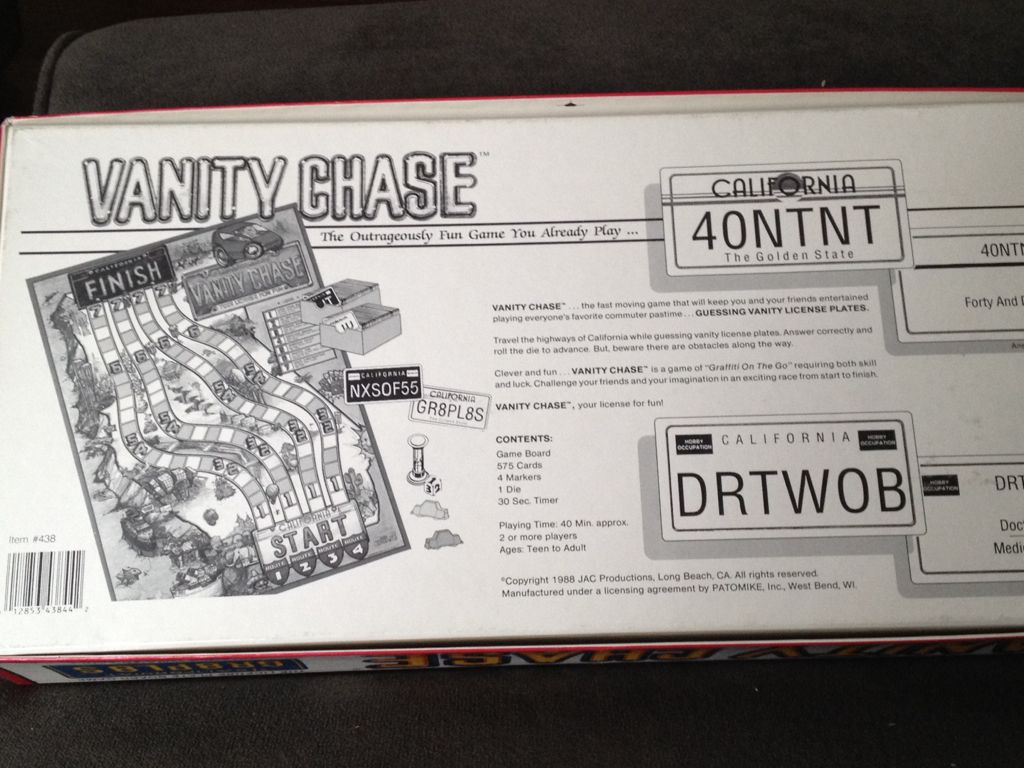 Vanity Chase Board Game - Jac Productions (Word Game) back image (back cover, second image)