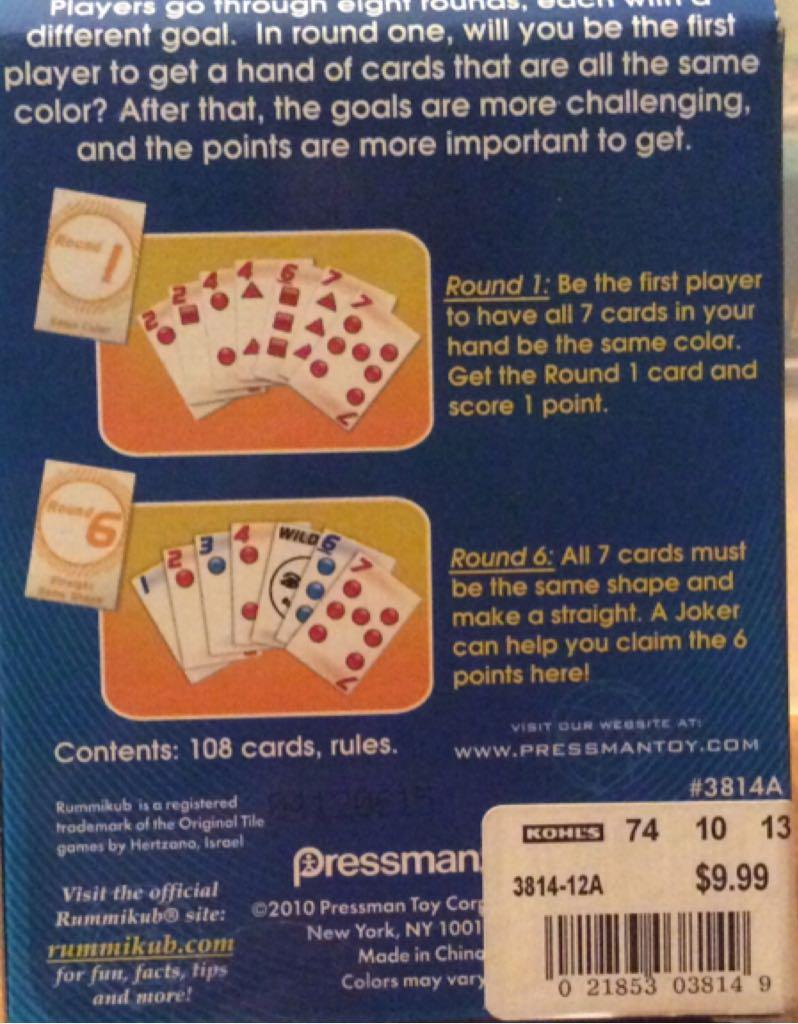 Rummikub Card Game Board