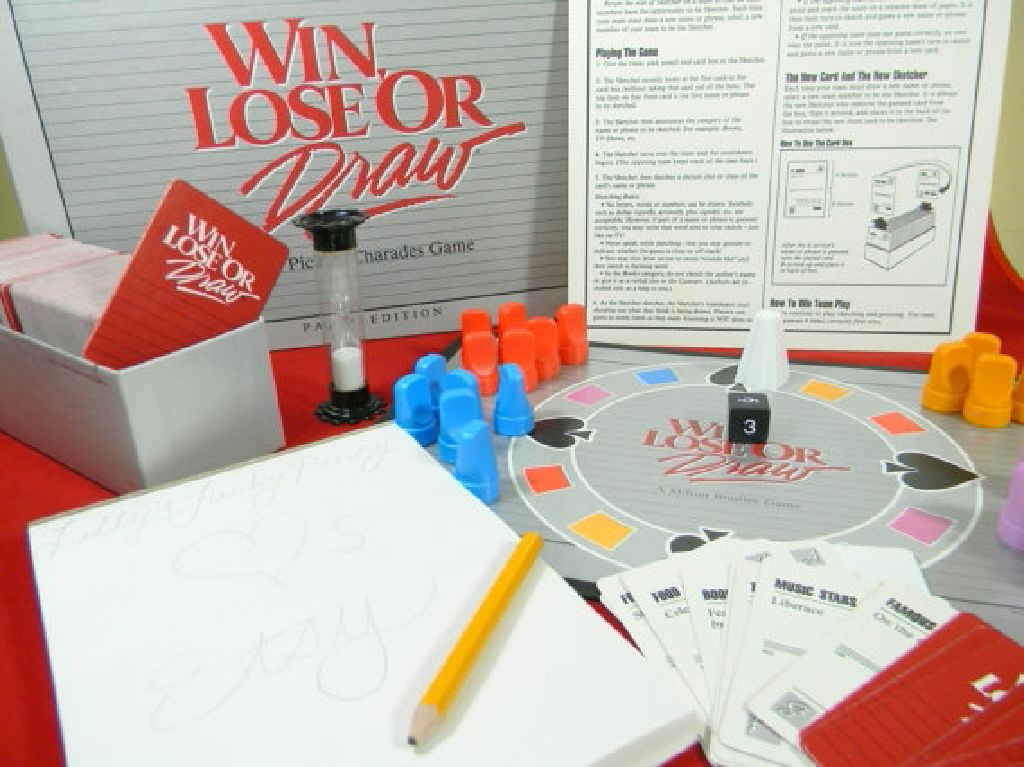 Win Lose Or Draw Board Game Milton Bradley Party Game From