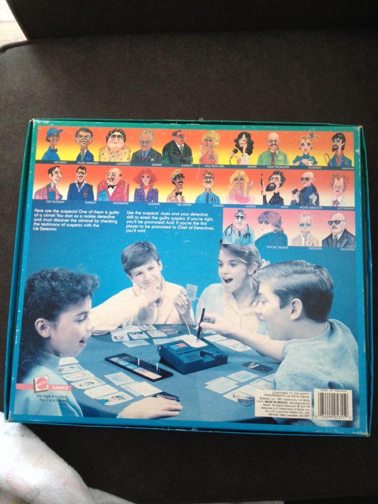 Lie Detector Board Game Mattel Murdermysterychildrens Game