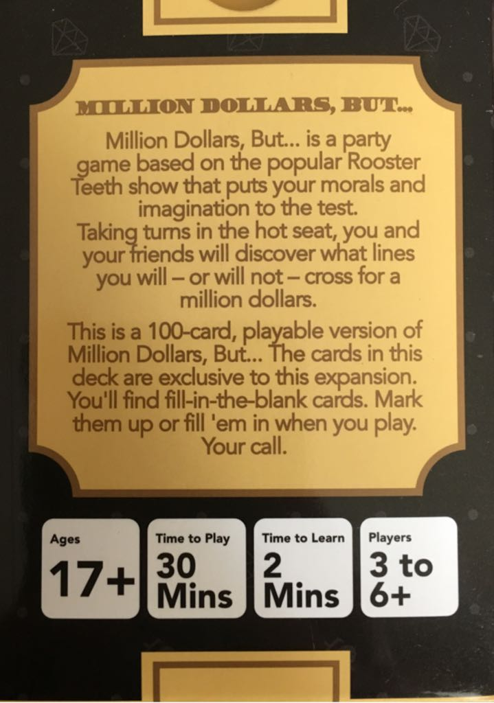 million dollars but expansion 1 board game rooster teeth card