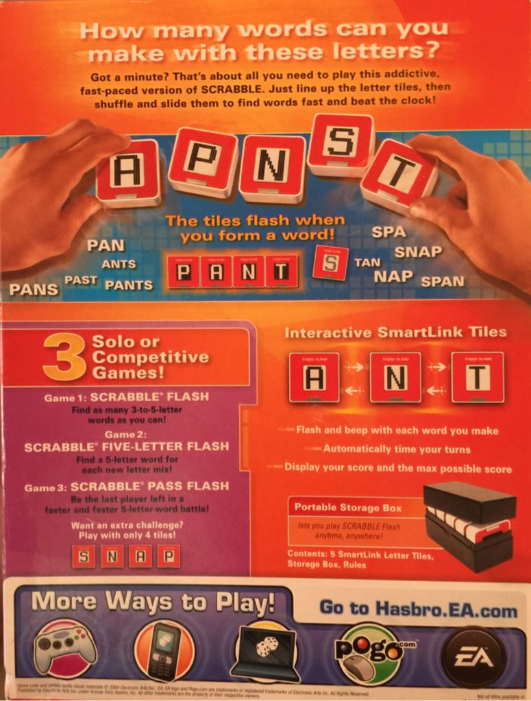 scrabble flash board game hasbro electronicword game back image back