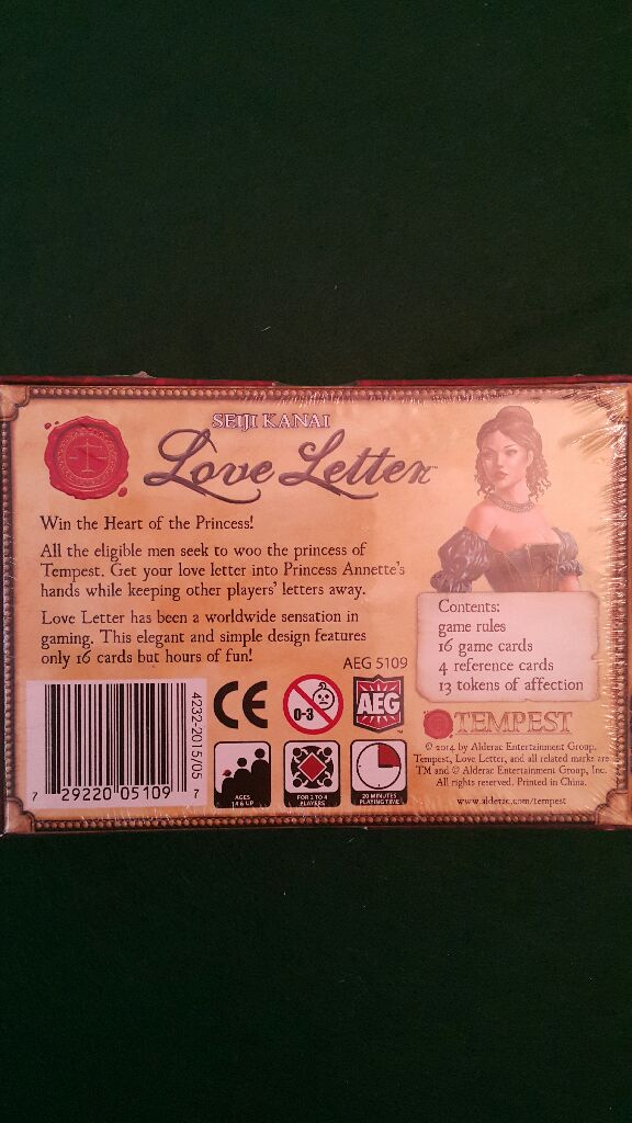 Love Letter Board Game Aeg Card Game From Sort It Apps