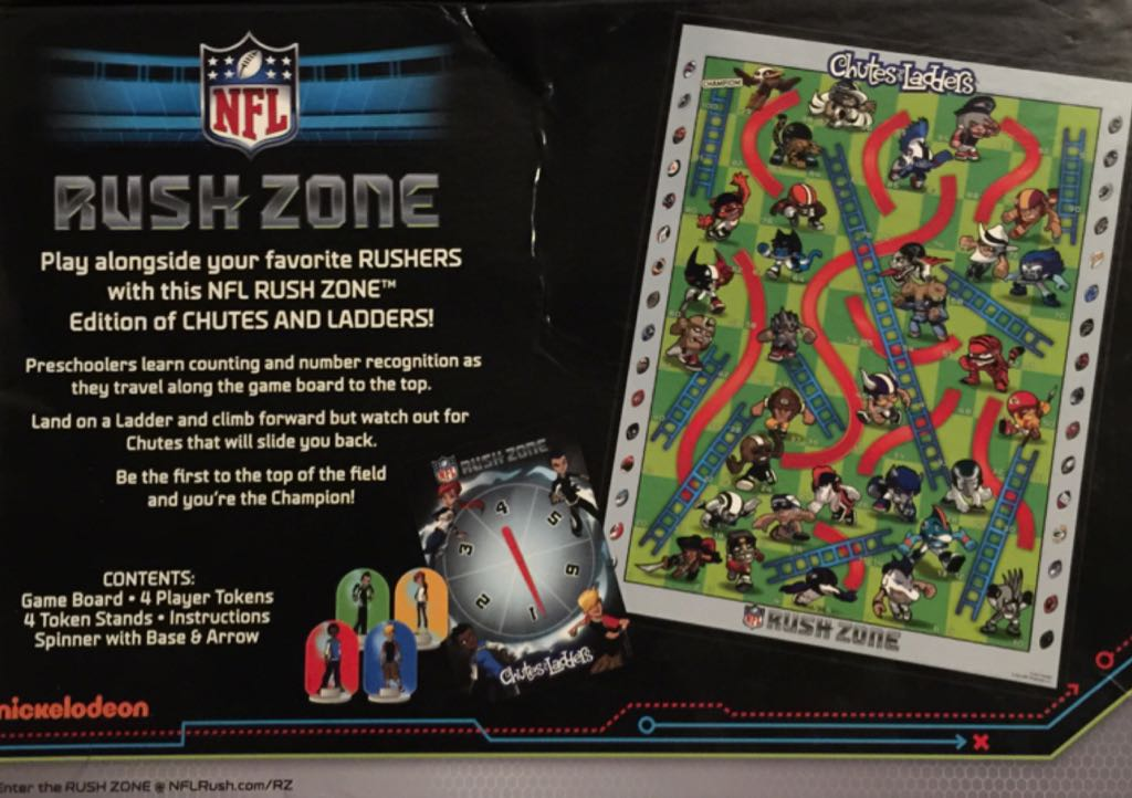 Chutes And Ladders Nfl Rush Zone Board Game Hasbro Childrens