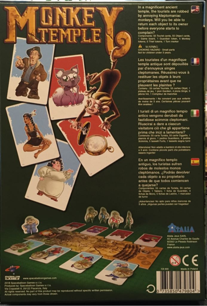 Monkey Temple Board Game - Spaceballoon Games back image (back cover, second image)