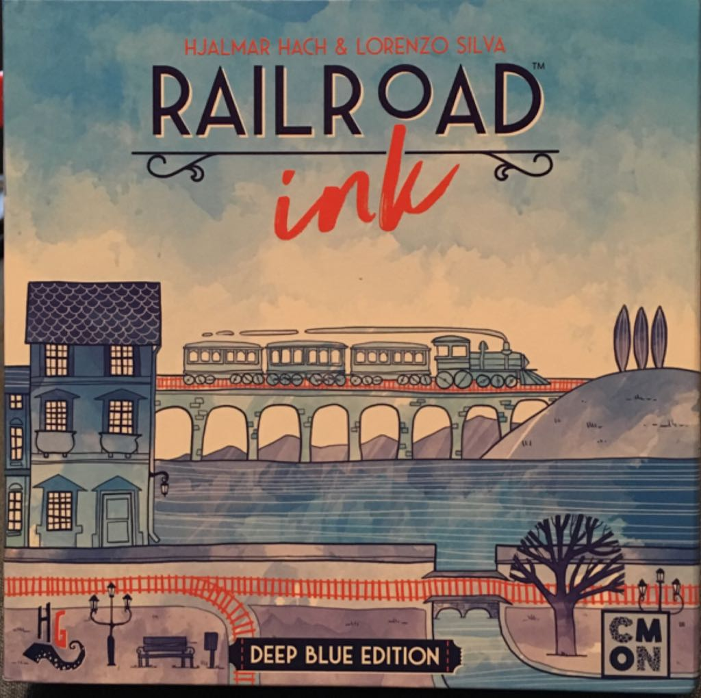 Railroad Ink, Deep Blue Edition Board Game - CMON Limited (Trains) front image (front cover)