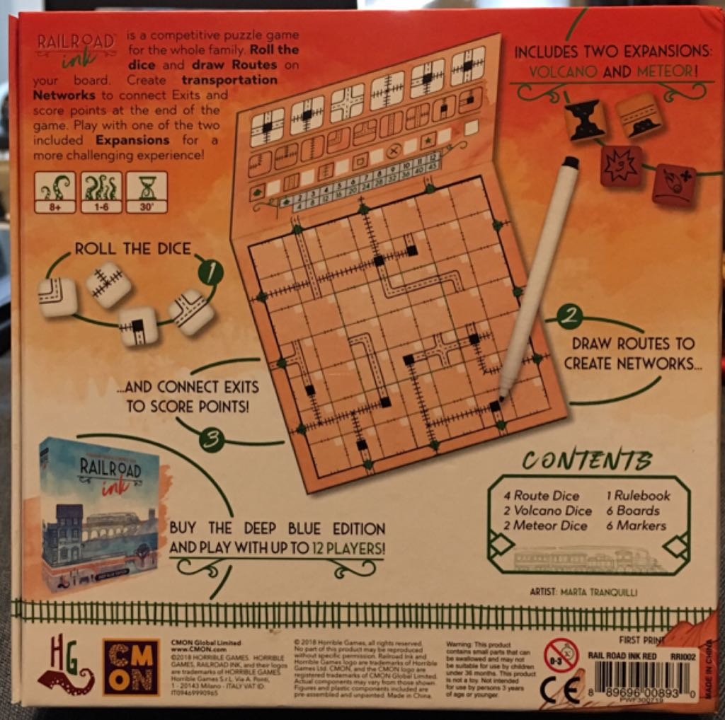 Railroad Ink, Blazing Red Edition Board Game - CMON Limited back image (back cover, second image)