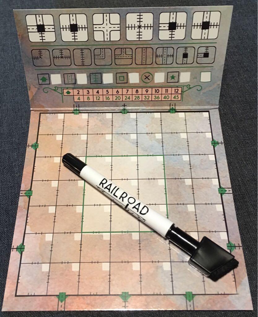 Railroad Ink, Promo Board #1 - Blue Traim Board Game - CMON Limited back image (back cover, second image)