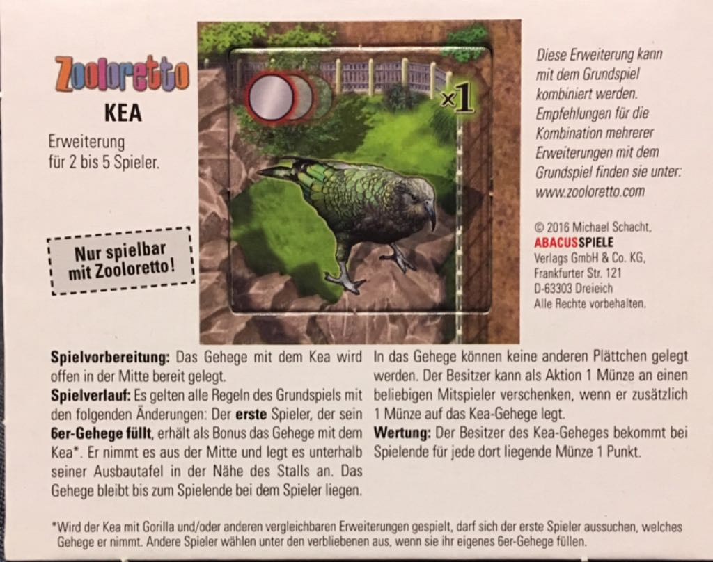 Zooloretta: Kea Board Game - Abacusspiele (Animals*Expansion) front image (front cover)
