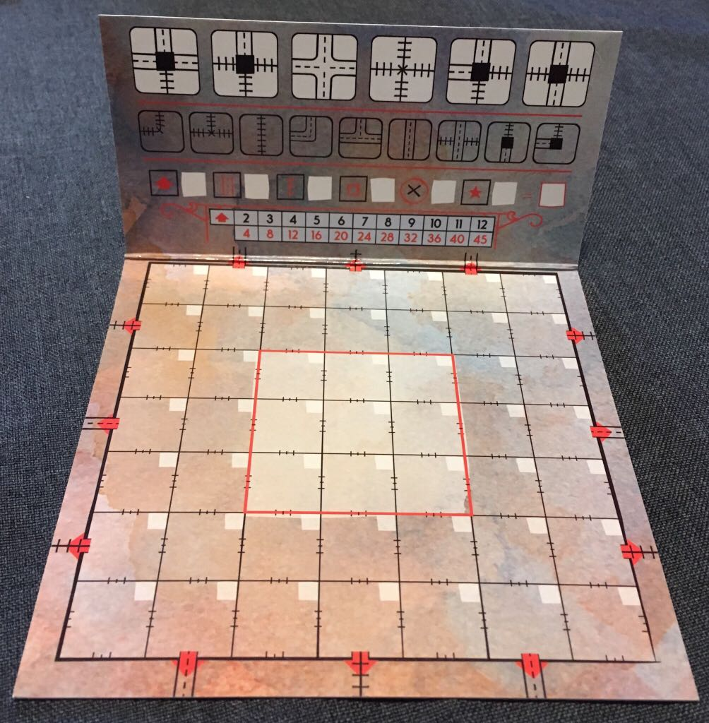 Railroad Ink, Promo Board #2 - Red Train Board Game - CMON Limited back image (back cover, second image)