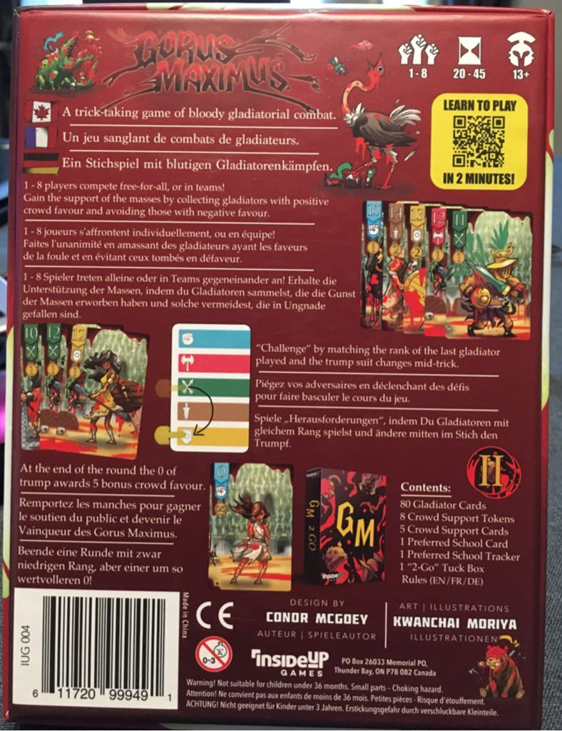 Gorus Maximus Board Game - Inside Up Games back image (back cover, second image)