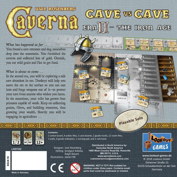Caverna: Cave vs Cave - Era II: The Iron Age Board Game - Lookout Games (Economic*Expansion*Fantasy*Farming) back image (back cover, second image)