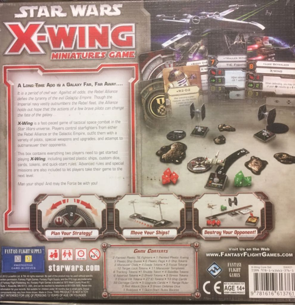 Star Wars: X-Wing Miniatures Game Board Game - Fantasy Flight Games back image (back cover, second image)
