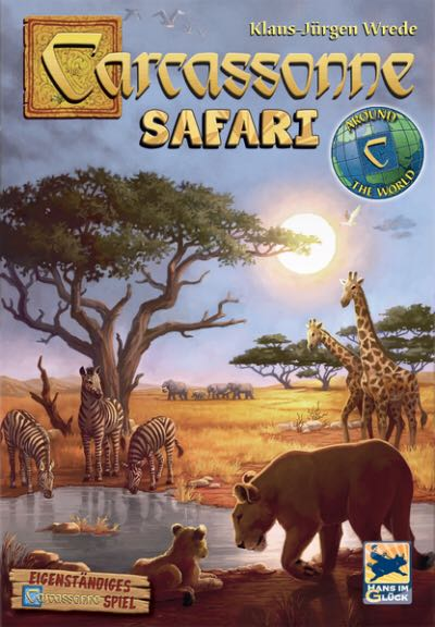 Carcassonne Safari Board Game - Z-Man front image (front cover)