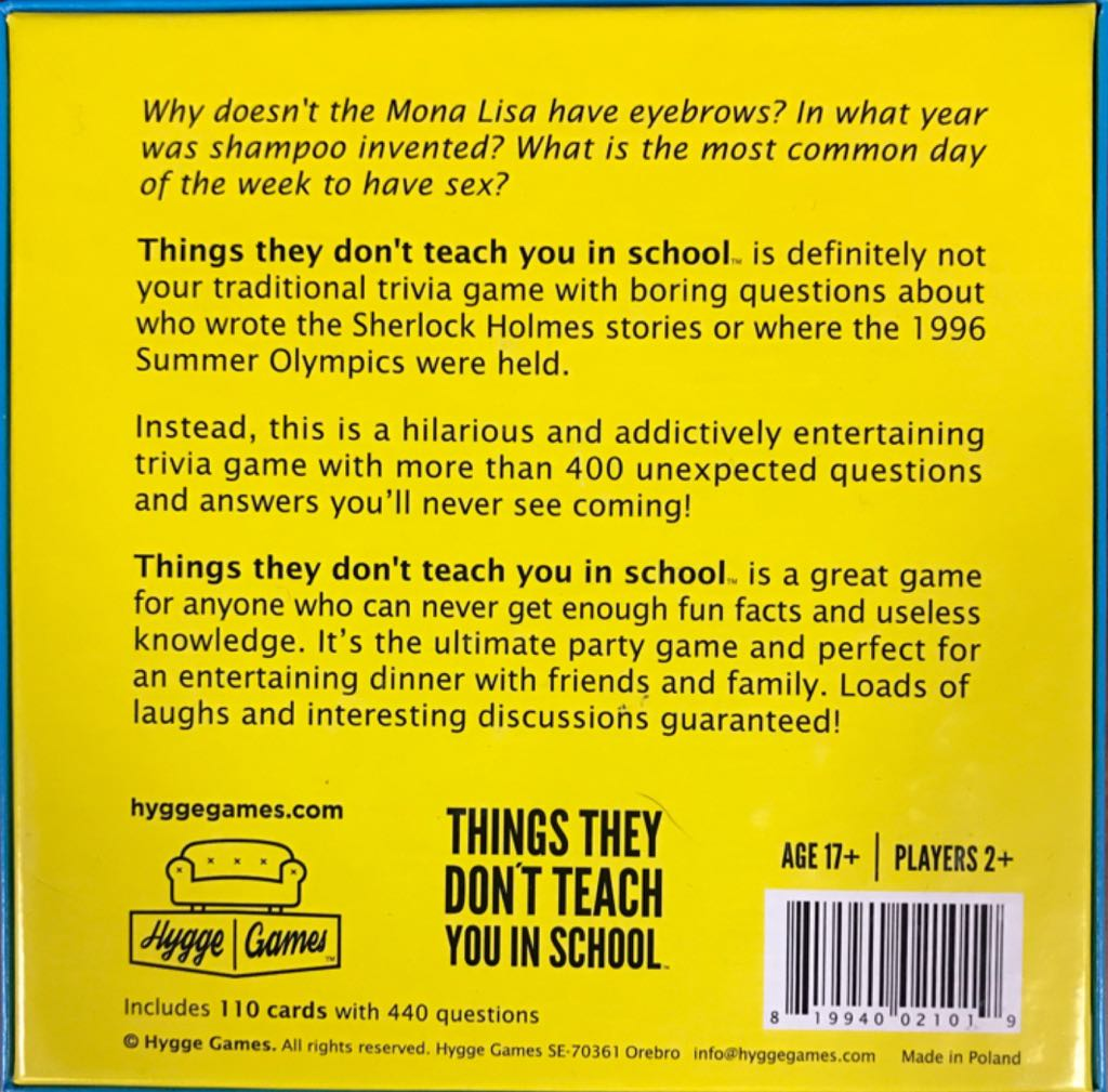 Things They Don't Teach You In School Board Game - Hygge Games (Trivia) back image (back cover, second image)