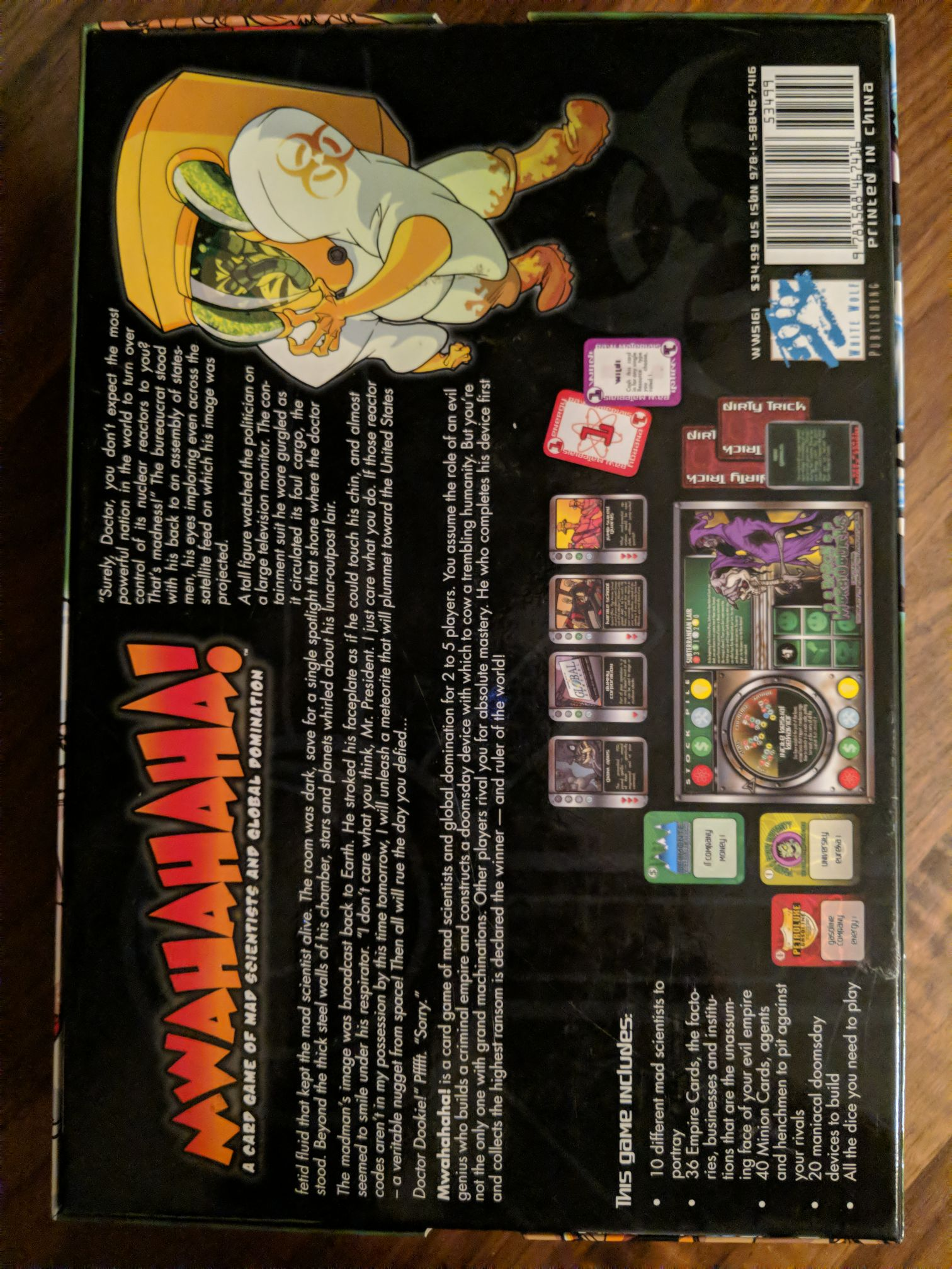 Mwahahaha Board Game - White Wolf Publishing (Card Game) back image (back cover, second image)