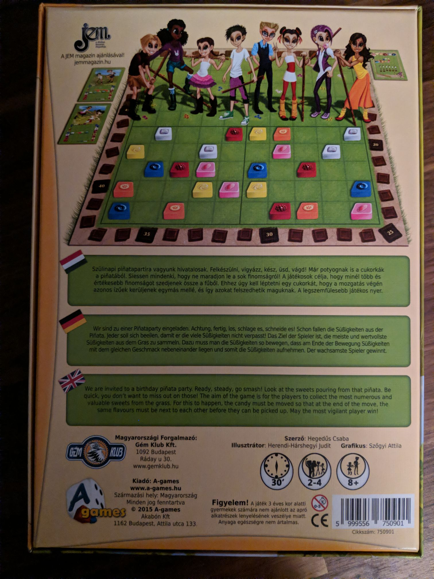 Piñata Party Board Game - A-games (Children's Game) back image (back cover, second image)