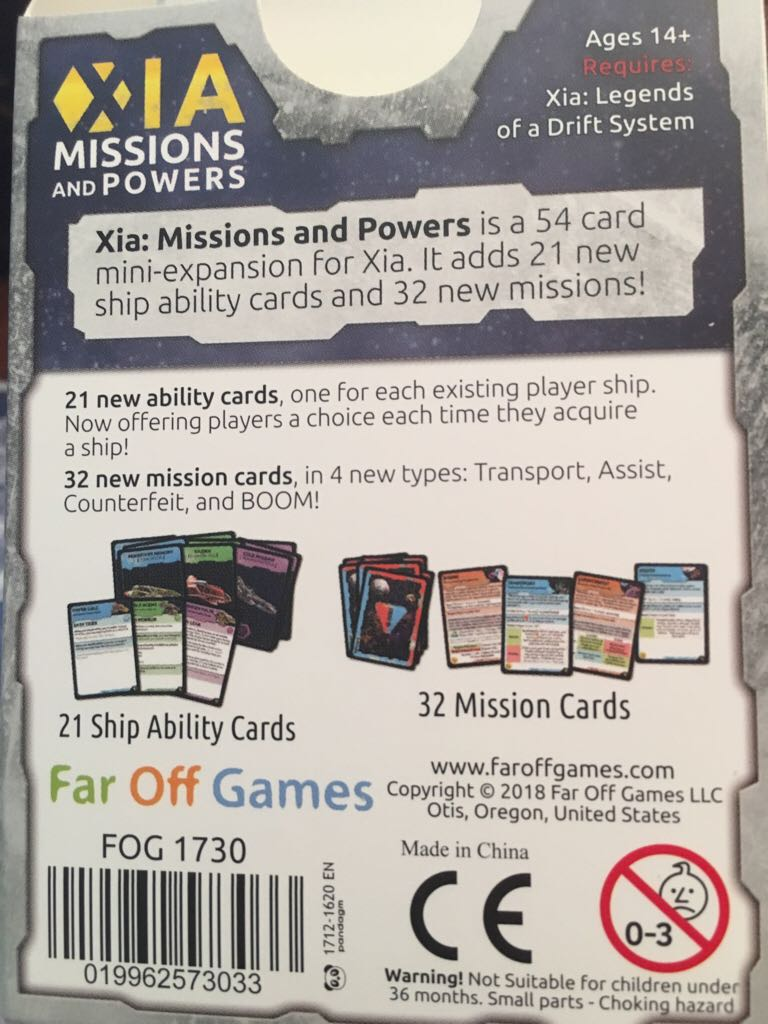 Xia: Missions And Powers Board Game back image (back cover, second image)