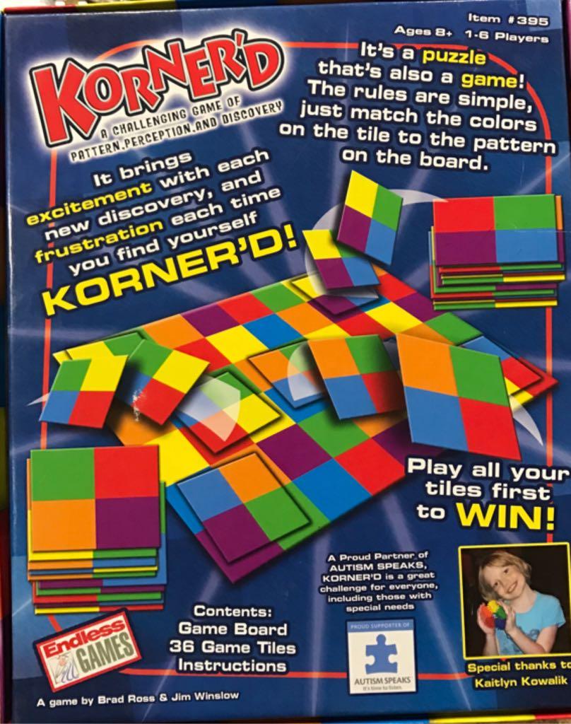 Korner'd Board Game - Endless Games (Puzzle) back image (back cover, second image)
