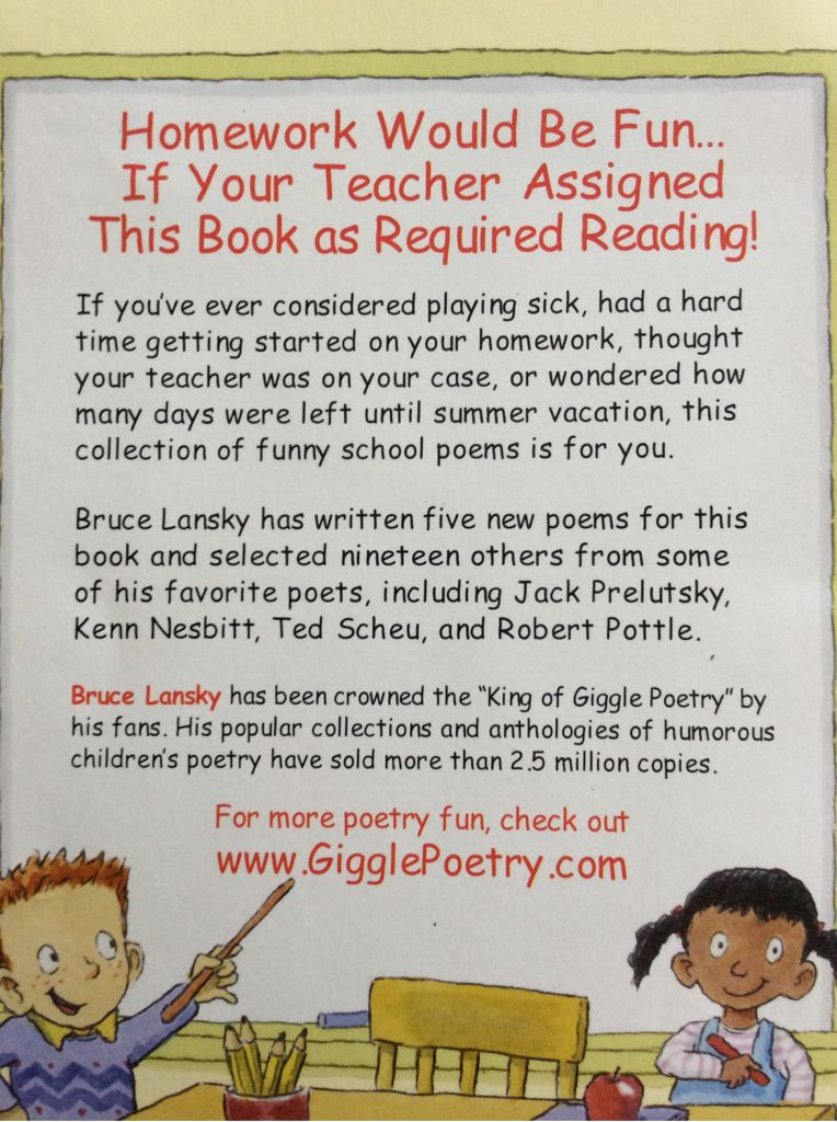 If I Ran the School: 24 Funny School Poems Book - Scholastic Inc. back image (back cover, second image)