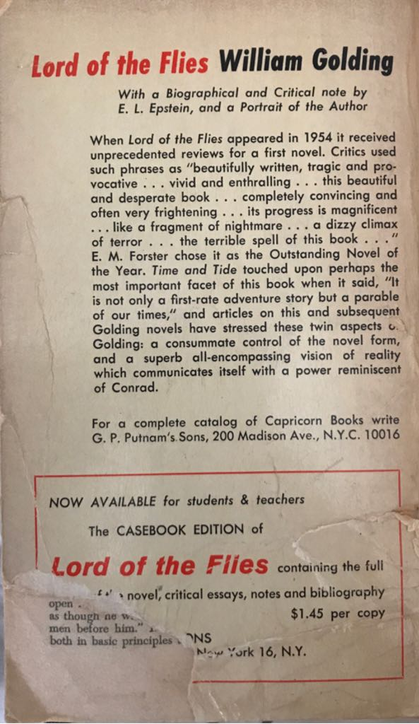 Lord of the Flies Book - Capricorn Books back image (back cover, second image)