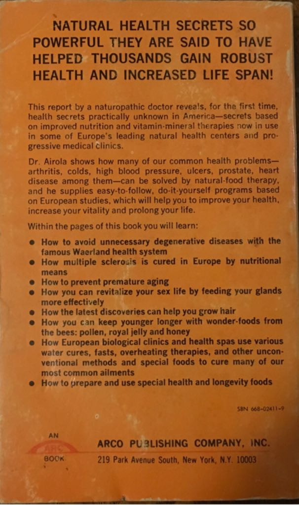 Health Secrets From Europe Book - Arco Publishing Co., Inc. back image (back cover, second image)