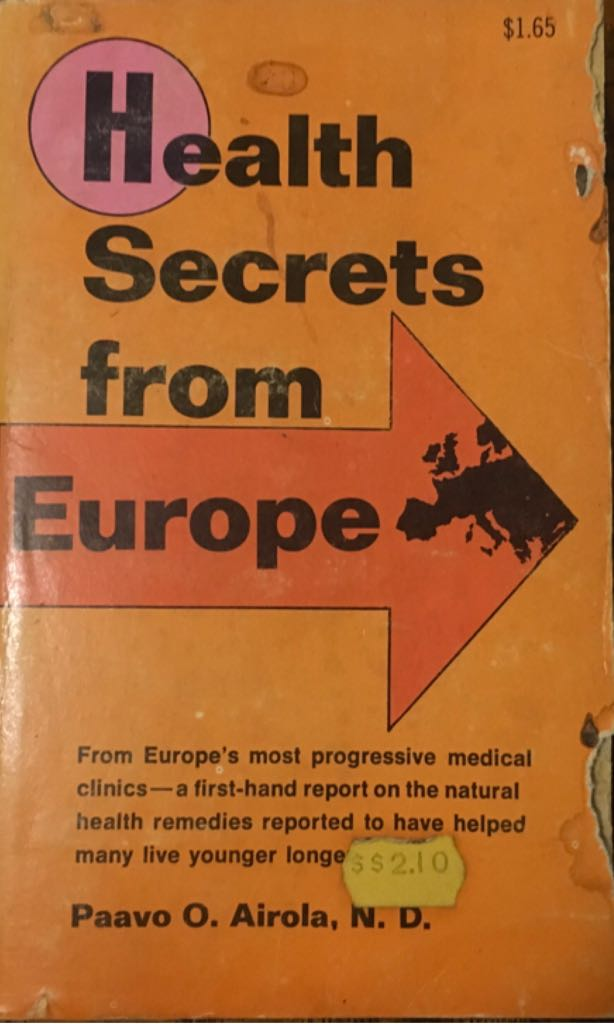 Health Secrets From Europe Book - Arco Publishing Co., Inc. front image (front cover)