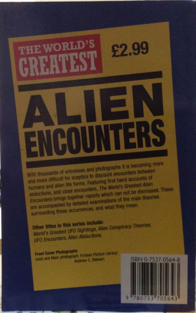 Alien Encounters, The Worlds Greatest Book - Octopus Publishing Group back image (back cover, second image)