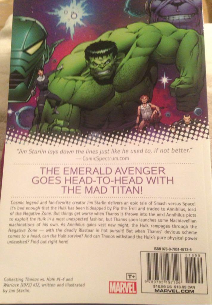 Thanos vs. Hulk Book - Marvel back image (back cover, second image)