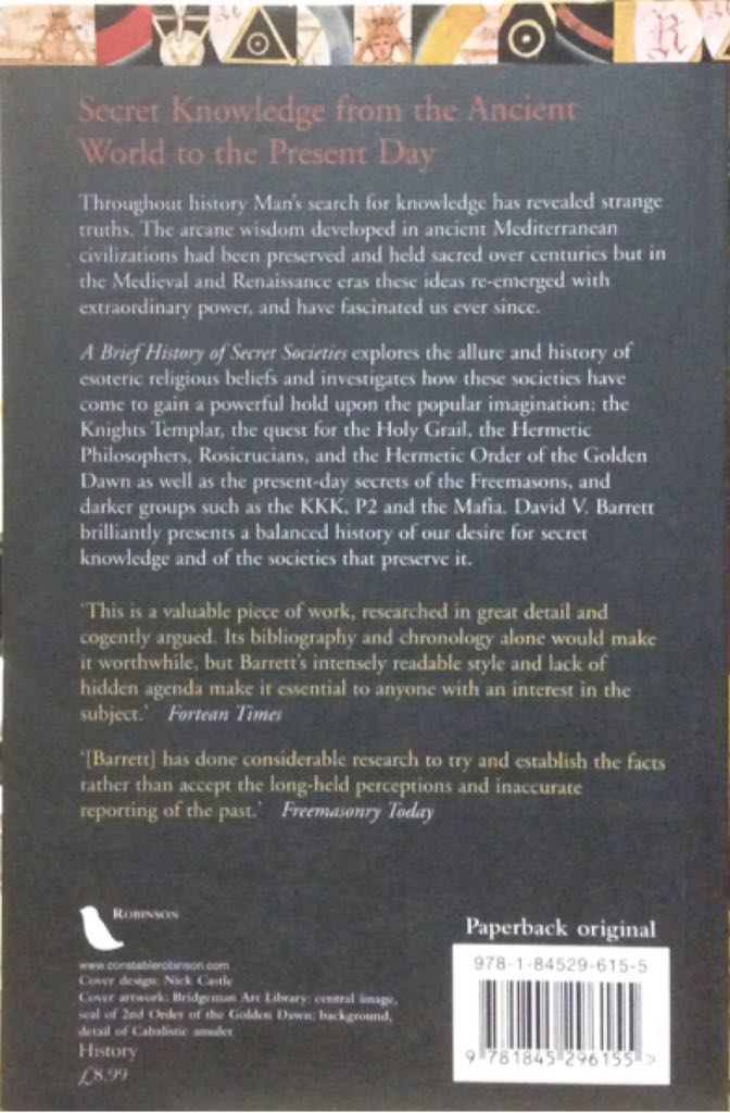 Secret Societies, A Brief History of Book - Robinson Publishing back image (back cover, second image)