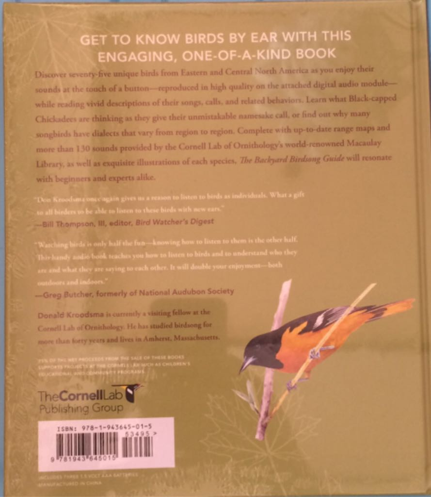 Summary The Backyard Birdsong Guide Eastern And Central North