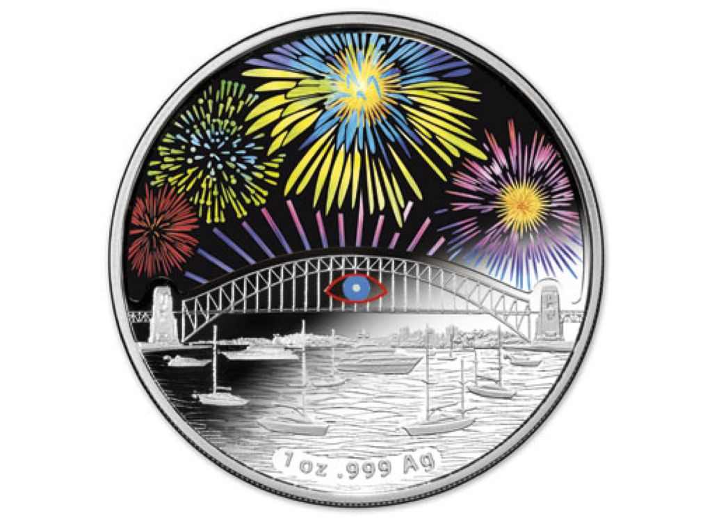 2014 $1 Holographic Silver Proof Coin - $1 (2014) front image (front cover)