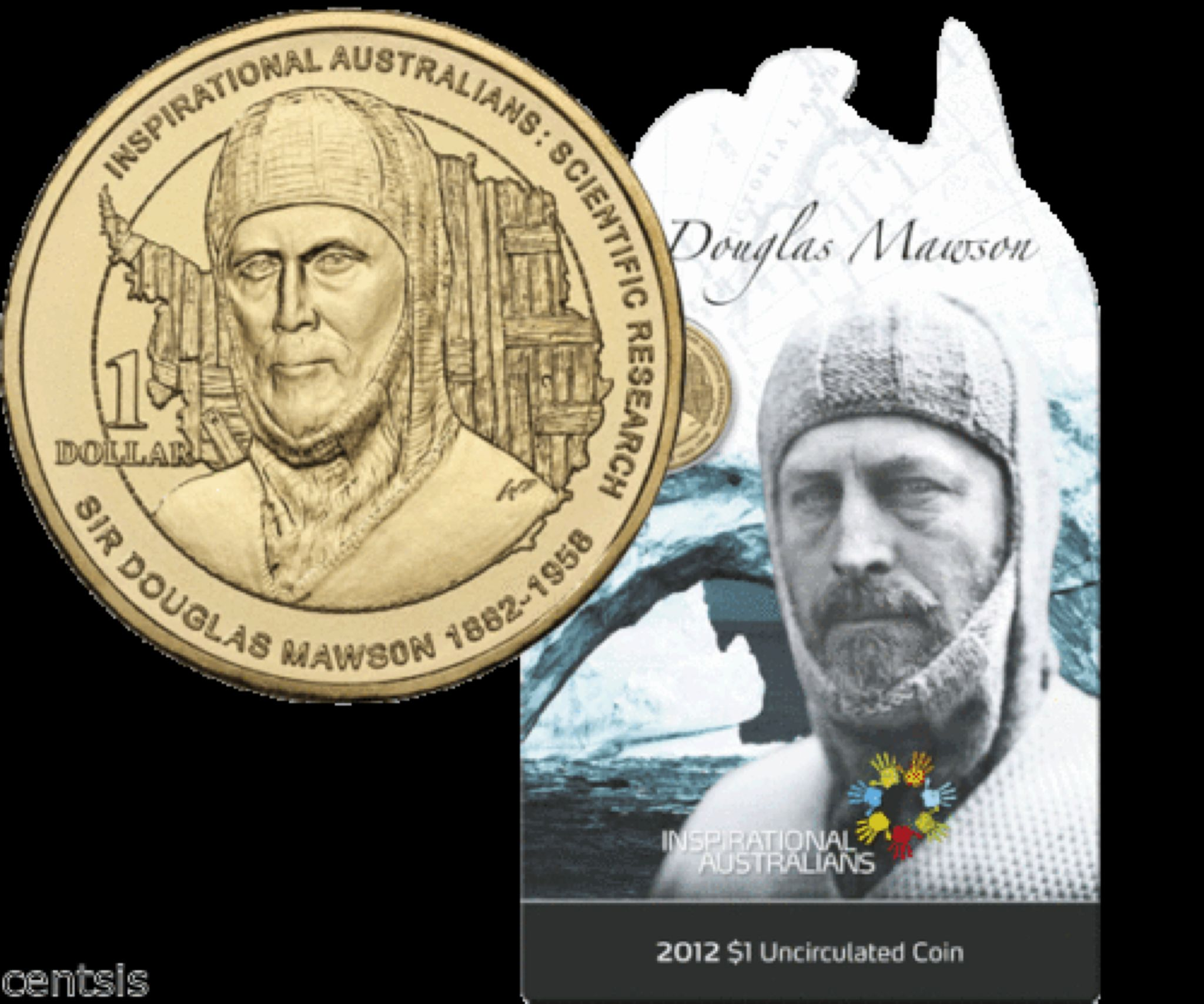 2012 Inspirational Australians - Sir Douglas Mawson Coin - $1 (2012) front image (front cover)
