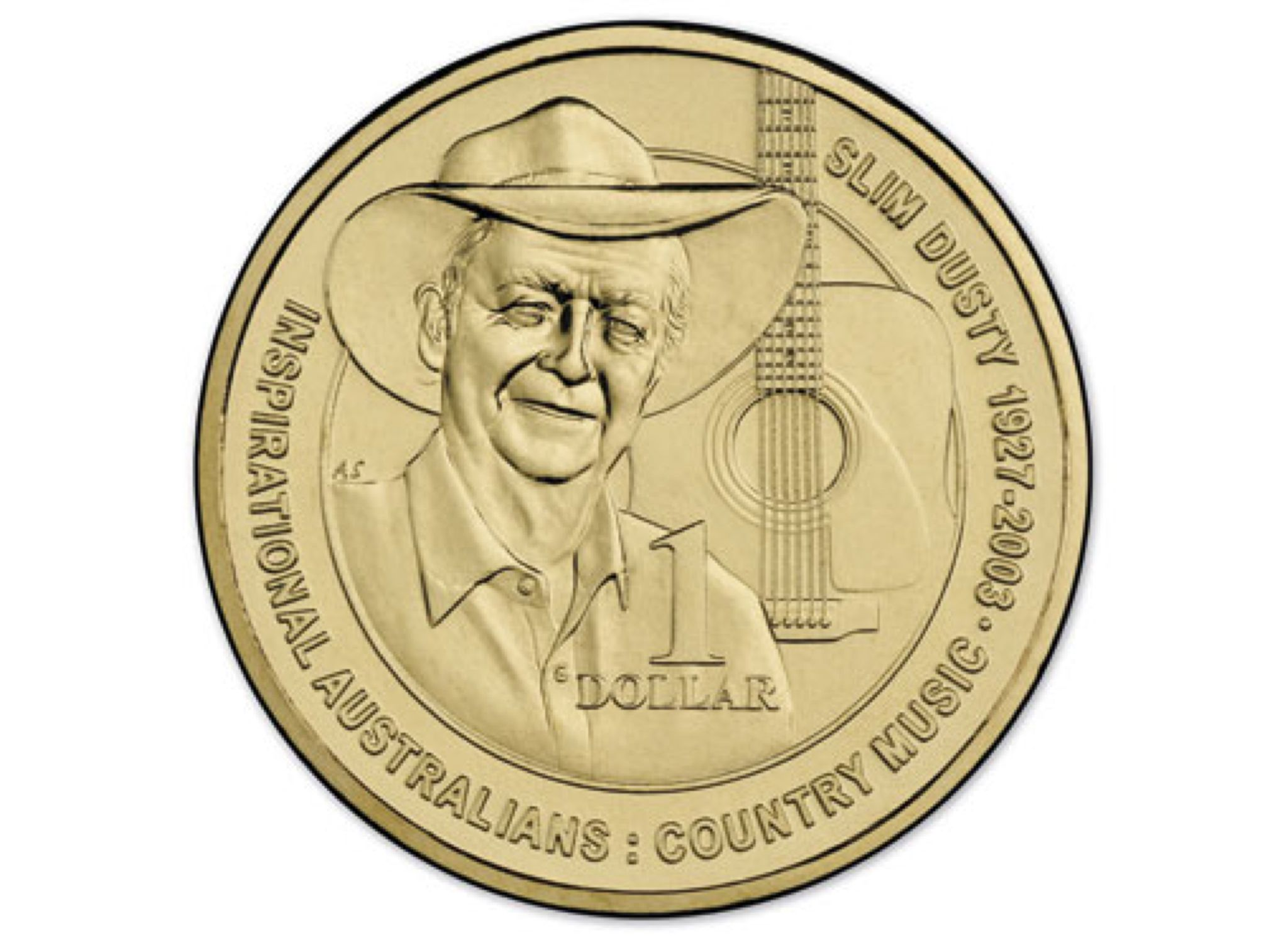 2013 $1 Uncirculated Coin Inspirational Australians - Slim Dusty Coin - $1 (2013) back image (back cover, second image)