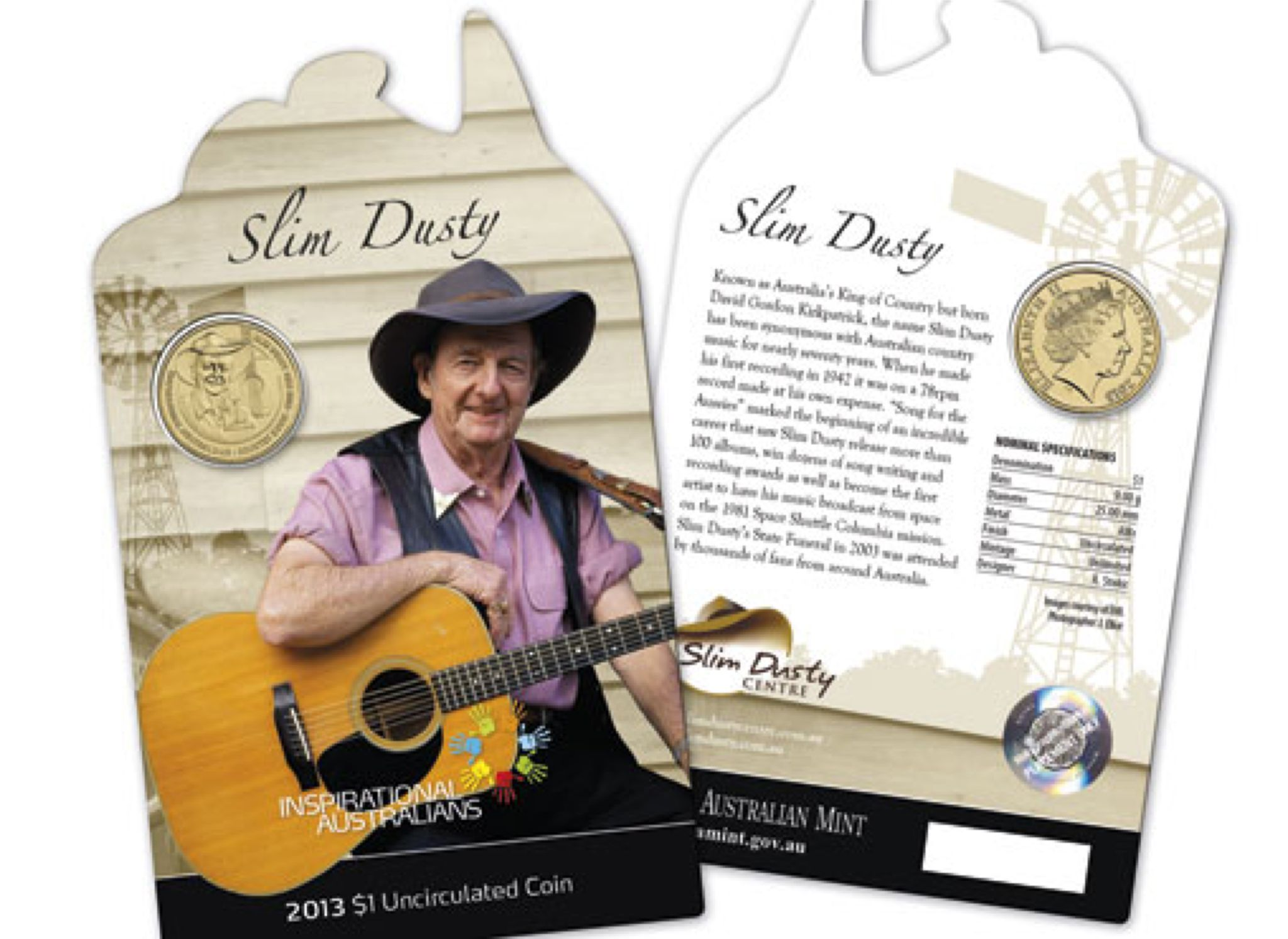 2013 $1 Uncirculated Coin Inspirational Australians - Slim Dusty Coin - $1 (2013) front image (front cover)