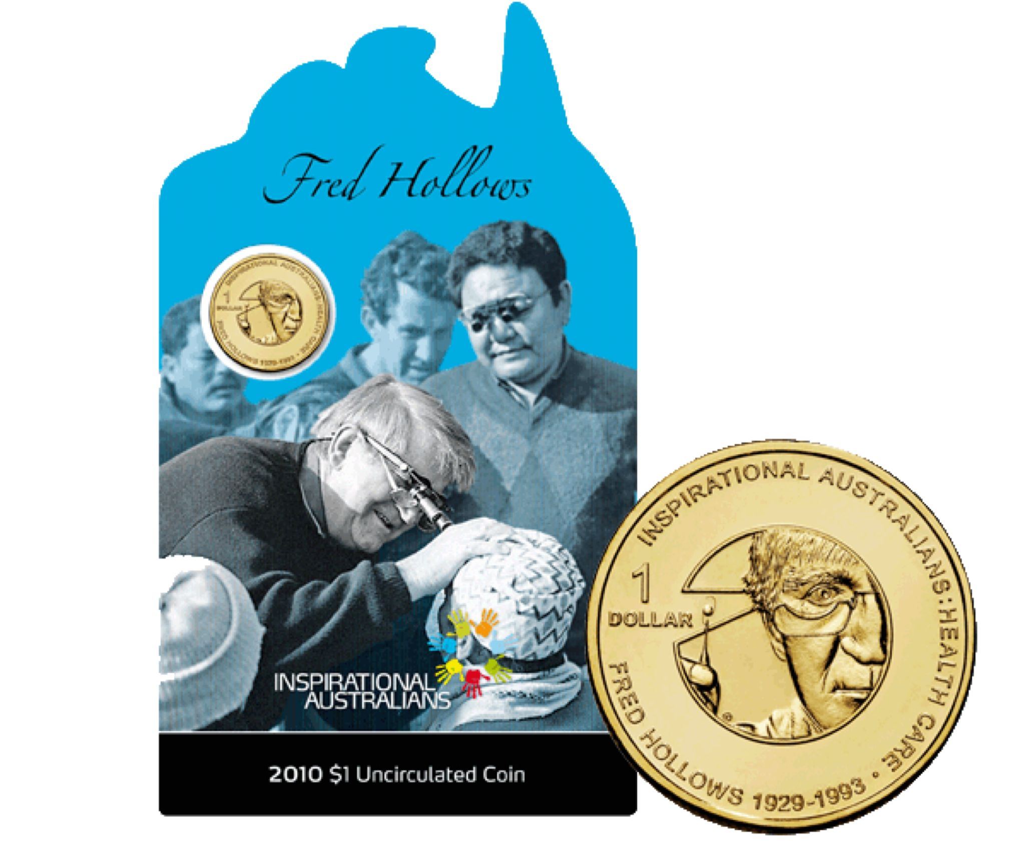 2010 $1 Uncirculated Inspirational Australians - Fred Hollows Coin - $1 (2010) front image (front cover)
