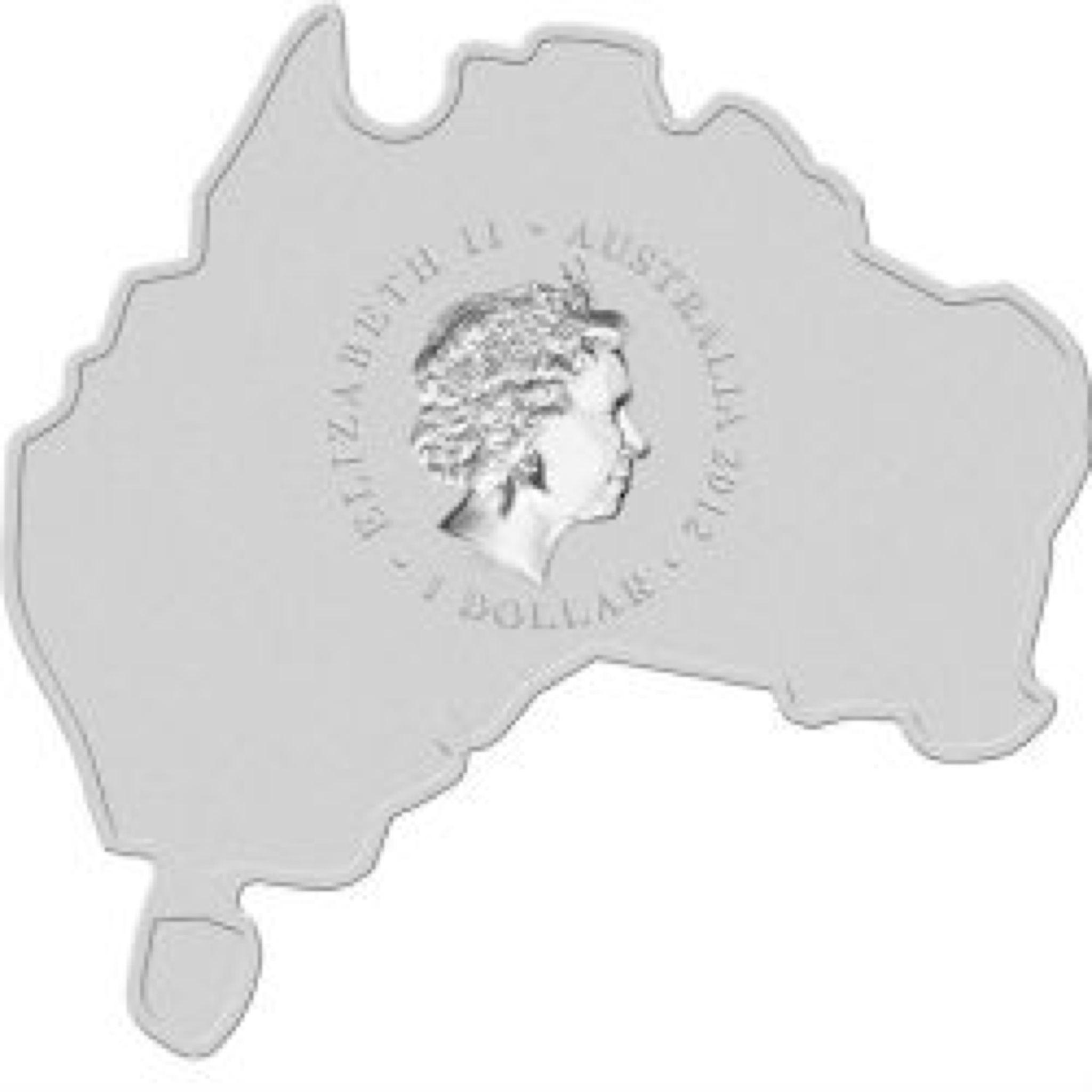 2012 Kookaburra 1oz Map Shape Coin - $1 (2012) back image (back cover, second image)